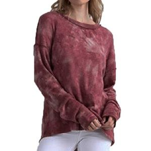 T Party Burgundy Rose Tie Back Long Sleeve Sweater